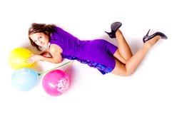 Mulher com ballons Imagem de Stock Royalty Free