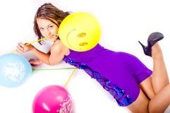 Mulher com ballons Imagem de Stock