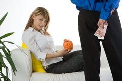 Mulher com banco Imagens de Stock Royalty Free