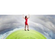 Mulher com bandeira Fotografia de Stock