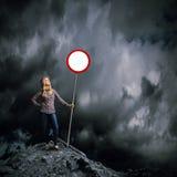 Mulher com bandeira Imagens de Stock
