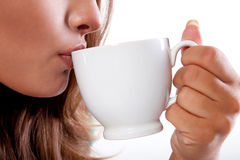 Mulher com bebida quente fotos de stock