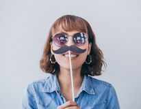 Mulher com bigode fotos de stock