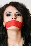 Mulher com boca amarrada Fotografia de Stock