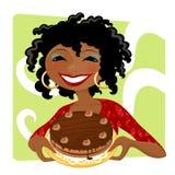 Mulher com bolo ilustração stock