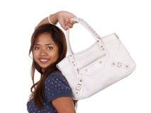 Mulher com bolsa branca Imagens de Stock