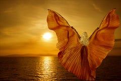A mulher com borboleta voa o voo no por do sol do mar da fantasia