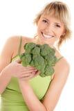 Mulher com brócolos fotos de stock royalty free