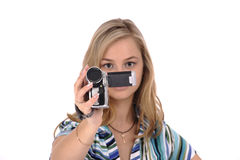Mulher com câmara de vídeo Fotografia de Stock Royalty Free