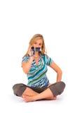 Mulher com câmara de vídeo digital Fotos de Stock Royalty Free