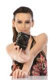 Mulher com câmara digital imagens de stock