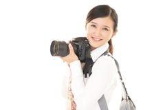 Mulher com a câmera Fotografia de Stock