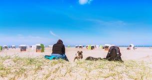Mulher com cão em uma praia do cão Fotos de Stock