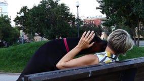 Mulher com cão preto video estoque