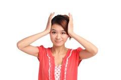 Mulher com cabeça nas mãos Fotos de Stock Royalty Free