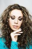 Mulher com cabelo curly longo Fotos de Stock