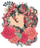 Mulher com cabelo e as flores de fluxo longos Fotos de Stock