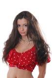 Mulher com cabelo escuro longo foto de stock royalty free