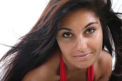 Mulher com cabelo escuro longo imagens de stock