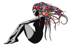 Mulher com cabelo longo da flor ilustração royalty free