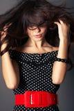 Mulher com cabelo longo de Brown Fotos de Stock Royalty Free