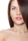 Mulher com cabelo no olho Fotografia de Stock Royalty Free