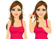 Mulher com cabelo tangled longo ilustração stock