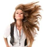 Mulher com cabelo uncurled Foto de Stock