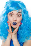 Mulher com cabelos azuis foto de stock royalty free