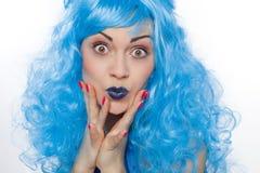 Mulher com cabelos azuis fotos de stock royalty free
