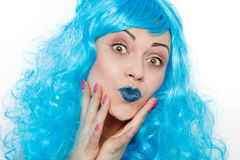 Mulher com cabelos azuis fotografia de stock
