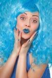 Mulher com cabelos azuis Imagem de Stock