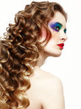 Mulher com cabelos dourados longos Imagens de Stock