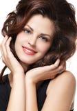Mulher com cabelos marrons longos Imagem de Stock