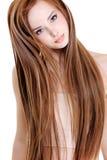 Mulher com cabelos retos da beleza Fotos de Stock Royalty Free