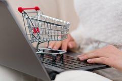 Mulher com caderno e o mini carrinho de compras que datilografa lhe a ordem em linha Fotos de Stock Royalty Free