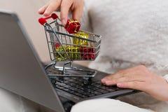 Mulher com caderno e o mini carrinho de compras que datilografa lhe a ordem em linha Imagens de Stock