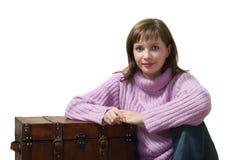 Mulher com caixa Imagem de Stock Royalty Free