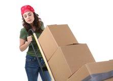 Mulher com caixas moventes foto de stock royalty free