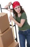 Mulher com caixas moventes imagens de stock royalty free