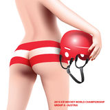 Mulher com capacete do hóquei Fotografia de Stock