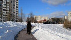 A mulher com carrinho de criança anda no bulevar em Moscou, Rússia vídeos de arquivo