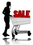 Mulher com carro de compra Imagem de Stock