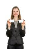 Mulher com cartões. Isolado no branco Imagens de Stock