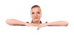 Mulher com cartaz fotografia de stock royalty free