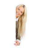 Mulher com cartaz fotos de stock royalty free