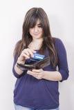 Mulher com carteira Imagem de Stock