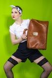 A mulher com a carteira velha Imagem de Stock