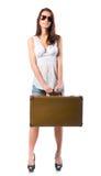Mulher com caso de couro Foto de Stock Royalty Free