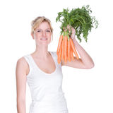 Mulher com cenoura Foto de Stock Royalty Free